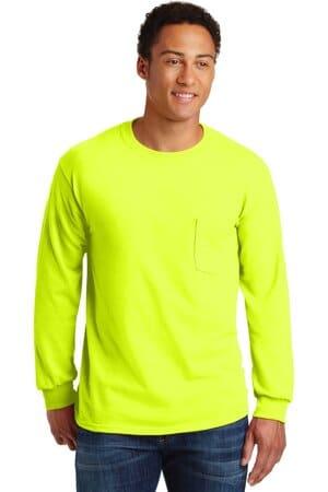 2410 gildan-ultra cotton 100% cotton long sleeve t-shirt with pocket