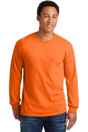 gildan-ultra cotton 100% cotton long sleeve t-shirt with pocket 2410