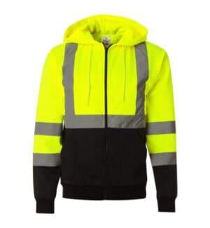 JS102-103 Ml kishigo hi-vis full-zip hooded sweatshirt