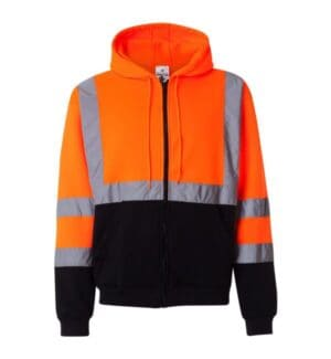JS102-103 Ml kishigo hi-vis full-zip hooded sweatshirt