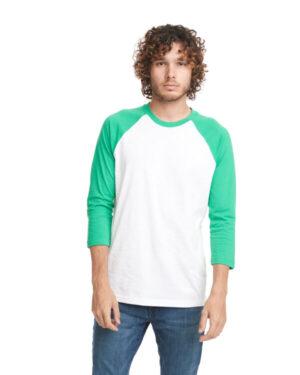 6251 unisex cvc 3/4 sleeve raglan baseball t-shirt