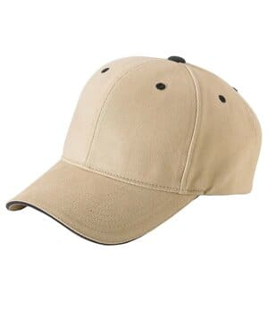 adult brushed cotton twill 6-panel mid-profile sandwich cap