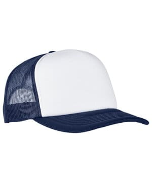 adult classics curved visor foam trucker cap-white front panel