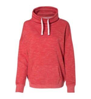 8673 J america womens mlange fleece cowl neck sweatshirt