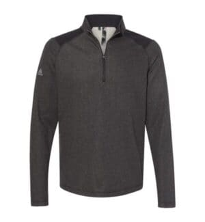 heathered quarter zip pullover with colorblocked shoulders