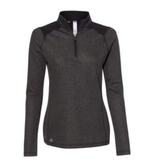 women's heathered quarter zip pullover with colorblocked shoulders