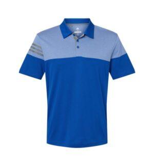 Adidas A213 heathered 3-stripes colorblock sport shirt