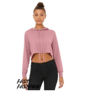fast fashion womens triblend cropped long sleeve hoodie