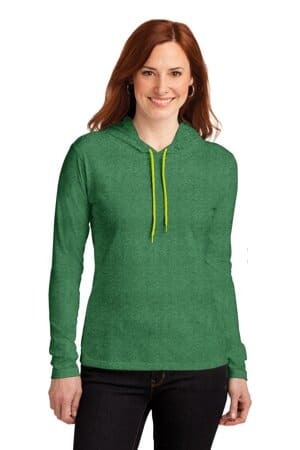887L anvil ladies 100% combed ring spun cotton long sleeve hooded t-shirt