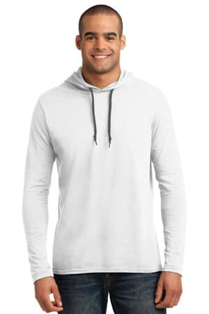 987 anvil 100% combed ring spun cotton long sleeve hooded t-shirt