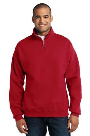 jerzees-nublend 1/4-zip cadet collar sweatshirt 995m