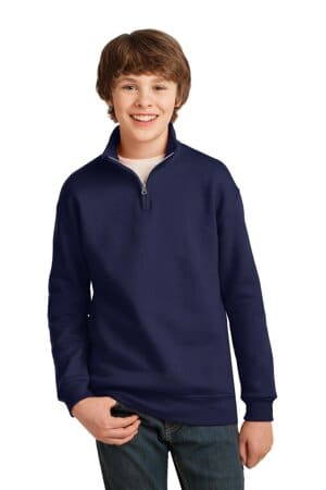 jerzees youth nublend 1/4-zip cadet collar sweatshirt 995y