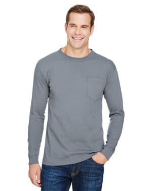 BA3055 Bayside unisex union-made long-sleeve pocket crew t-shirt