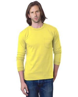 adult 61 oz, 100% cotton long sleeve pocket t-shirt
