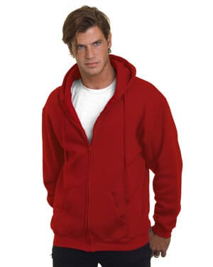adult 95oz, 80% cotton/20% polyester full-zip hooded sweatshirt