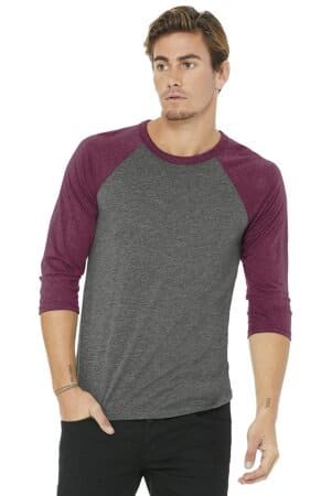 bella canvas unisex 3/4-sleeve baseball tee bc3200