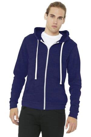 BC3909 bella canvas unisex triblend sponge fleece full-zip hoodie
