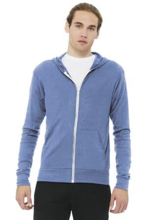 bella canvas unisex triblend full-zip lightweight hoodie bc3939