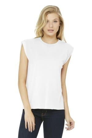 bella canvas women's flowy muscle tee with rolled cuffs bc8804