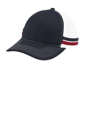 port authority two-stripe snapback trucker cap c113
