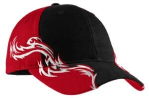 C859 port authority colorblock racing cap with flames