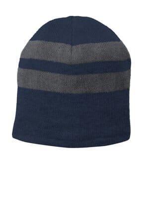 C922 port & company fleece-lined striped beanie cap