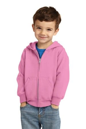 port & company toddler core fleece full-zip hooded sweatshirt car78tzh