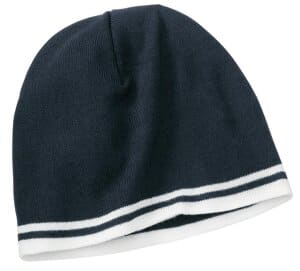port & company fine knit skull cap with stripes cp93