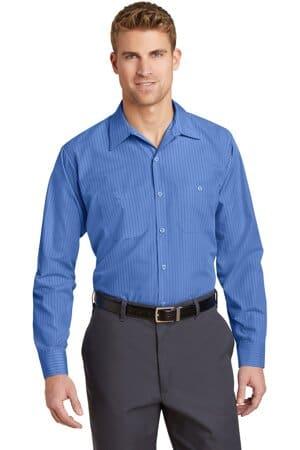 red kap long sleeve striped industrial work shirt cs10