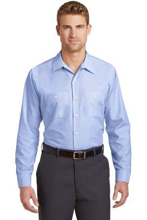 red kap long size long sleeve striped industrial work shirt cs10long