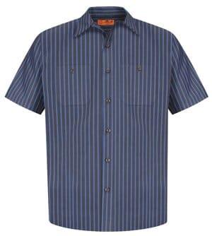 red kap long size short sleeve striped industrial work shirt cs20long