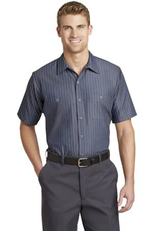 CS20 red kap short sleeve striped industrial work shirt