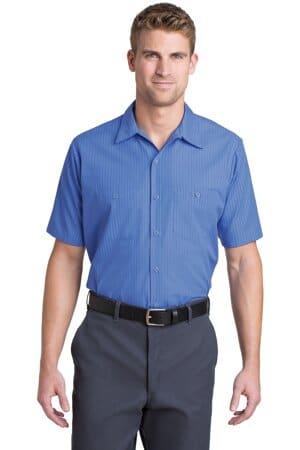 red kap short sleeve striped industrial work shirt cs20