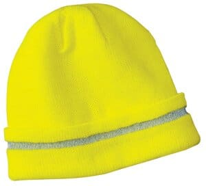 cornerstone-enhanced visibility beanie with reflective stripe cs800