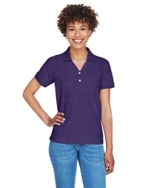 D100W Devon & jones ladies' pima piqu short-sleeve y-collar polo
