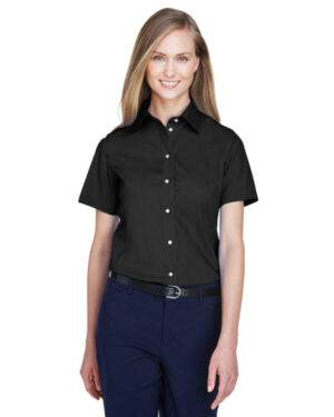 D620SW ladies' crown wovencollection solidbroadcloth short-sleeve shirt