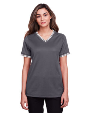 DG20CW ladies' crownlux performance plaited tipped v-neck polo