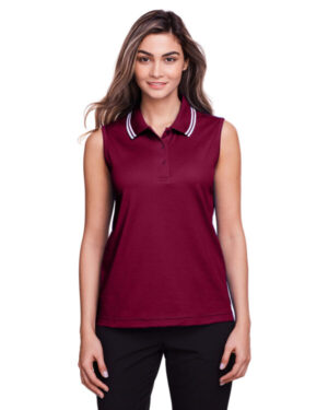 DG20SW ladies' crownlux performance plaited tipped sleeveless polo