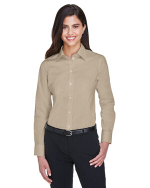 DG530W ladies' crown woven collection solid stretch twill
