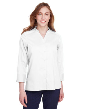 DG560W ladies' crown collection stretch broadcloth 3/4 sleeve blouse