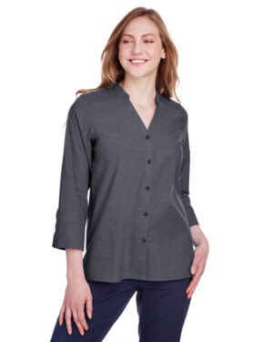 DG562W ladies' crown collection stretch pinpoint chambray 3/4 sleeve blouse