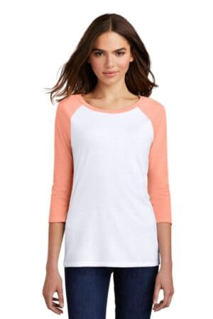 DM136L district women's perfect tri 3/4-sleeve raglan