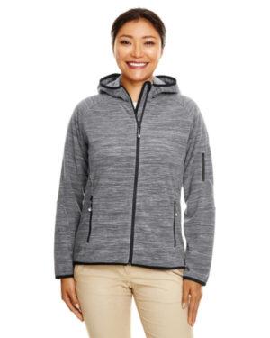 DP700W ladies' perfect fit mlange velvet fleece hooded full-zip
