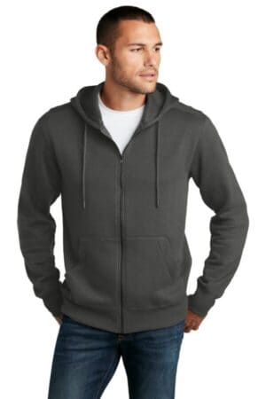 district perfect weight fleece full-zip hoodie dt1103