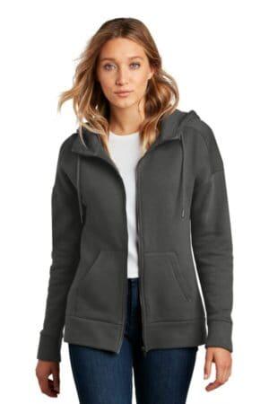 district women's perfect weight fleece drop shoulder full-zip hoodie dt1104