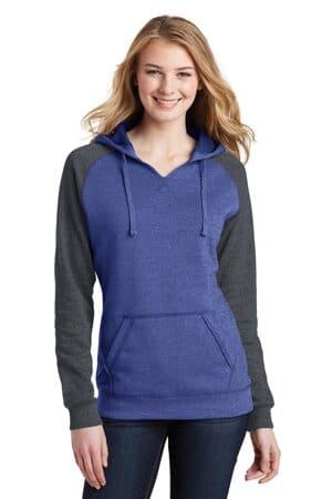district women's lightweight fleece raglan hoodie dt296