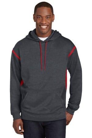 F246 sport-tek tech fleece colorblock hooded sweatshirt