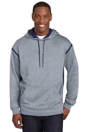 sport-tek tech fleece colorblock hooded sweatshirt f246