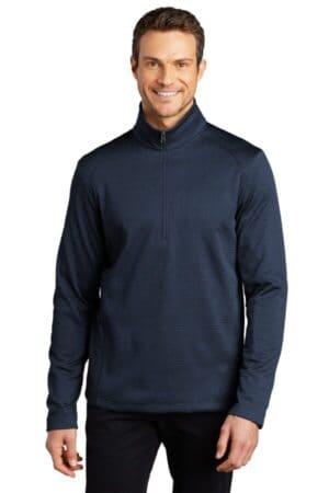 F248 port authority diamond heather fleece 1/4-zip pullover