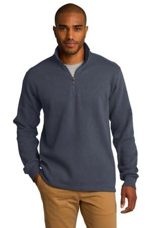 F295 port authority slub fleece 1/4-zip pullover